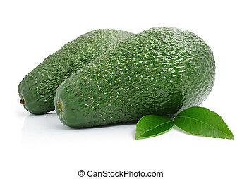 blad, avocado, vrijstaand, groene, vruchten, fris, witte