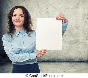 blad, businesswoman, papier, het voorstellen, leeg, witte