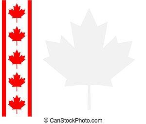 blad, canadees, frame, vlag, lint, esdoorn