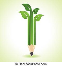 blad, -, ekologi, blyertspenna, begrepp