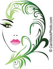blad, flicka, ansikte, vektor, swirly