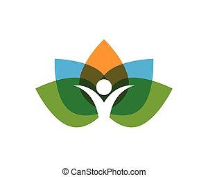 blad, folk, natur, symboler, sundhed, logo, grønne
