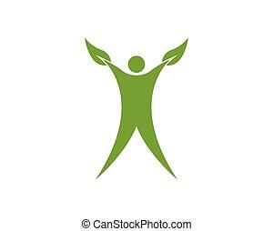 blad, folk, vektor, sundhed, skabelon, logo