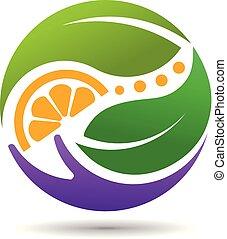 blad, frugt, logo, hånd, begreb