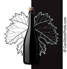 blad, het fonkelen, zwarte achtergrond, druif, witte wijn