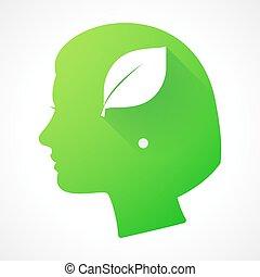 blad, hoofd, silhouette, vrouwlijk, pictogram