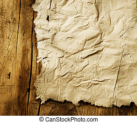 blad, houten, op, papier, closeup, achtergrond, oud