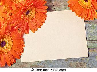blad, houten, opmerkingen, omringde, papierbord, oranje...