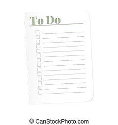 blad, illustration., achtergrond., volbracht, gescheurd, vrijstaand, papier, registreren, vector, leeg, list., witte , tasks.