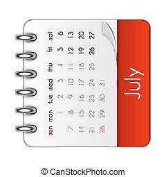 blad, illustration, vektor, 2019, mall, juli, kalender