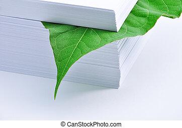 blad, in, stapel van document