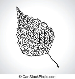blad, isolated., makro, træ, sort, birk