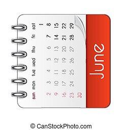 blad, juni, illustration, vektor, 2019, mall, kalender