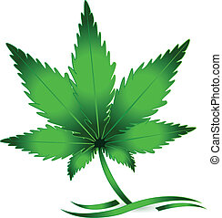 blad, marihuana, cannabis, vector, logo, pictogram