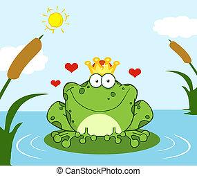 blad, meer, frog prins