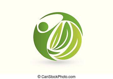 blad, natur, folk, vektor, sundhed, logo, ikon