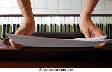 blad, op, muziek, pianotoetsenbord
