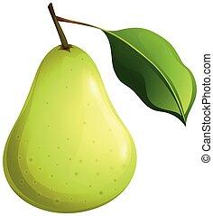 blad, päron, grön