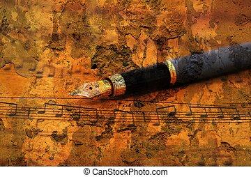 blad, pen, fontijn, muziek