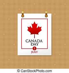 blad, röd, datera, symbol, kanada, 1, lönn, kalender, juli