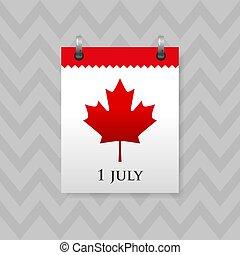 blad, röd, datera, vägg, symbol, canada., 1, lönn, kalender, juli