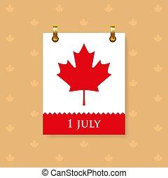 blad, röd, datera, vägg, symbol, kanada, 1, lönn, kalender, juli