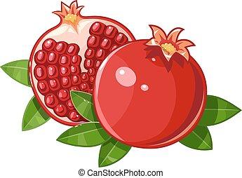 blad, rijp, granaatappel, sappig, stylized, fruit, paar