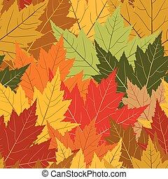 blad, seamless, achtergrond, herfst, het herhalen, esdoorn