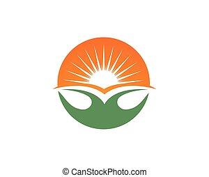 blad, sol, symboler, grønne, gå, logo