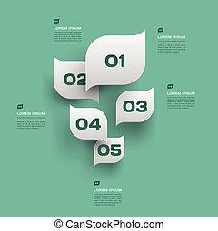 blad, trend, -, milieu, vector, ontwerp, infographics, groene