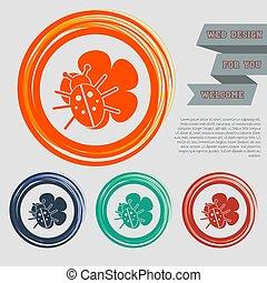 blad, utrymme, knäppas, apelsin, din, text., skalbagge, ikon, websajt, vektor, design, grön, blå, röd