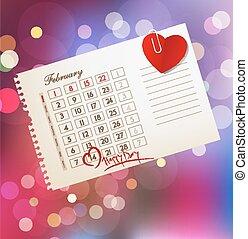 blad, valentine's dag, vector, achtergrond, kalender