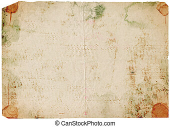 blad, van, oud, papier