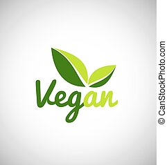 blad, vegan, groene, logo, ontwerp, pictogram