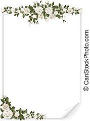 blad, verticaal, rozen, papier, witte , verfraaide