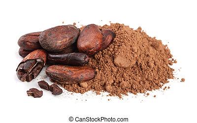 blad, vrijstaand, cacao, boon, unpeeled, poeder, achtergrond, witte