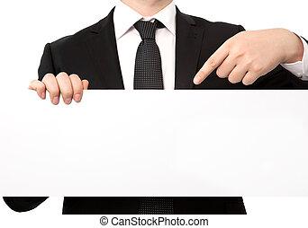 blad, vrijstaand, groot, papier, vasthouden, kostuum, zakenman, witte , spandoek, of