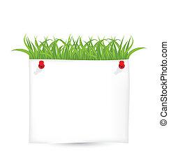 blad, vrijstaand, papier, groene achtergrond, witte , gras