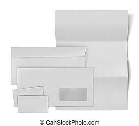 blad, zakelijk, enveloppe, set., papier, achtergrond, witte...