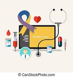 bladder cancer medical blue ribbon treatment health disease