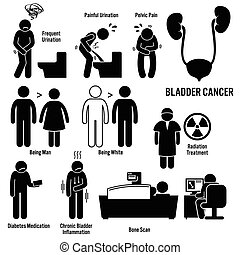 Bladder Cancer - Set of illustrations for bladder cancer...