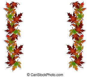 blade, grænse, fald, ramme, efterår