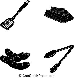 Blade kitchen, firewood, sausages and other for barbecue.BBQ set collection icons in black style vector symbol stock illustration web.