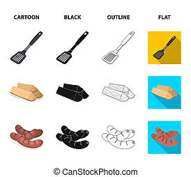 Blade kitchen, firewood, sausages and other for barbecue. BBQ set collection icons in cartoon, black, outline, flat style bitmap symbol stock illustration web.