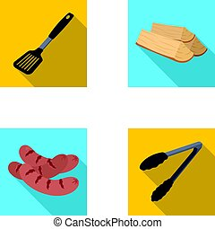 Blade kitchen, firewood, sausages and other for barbecue.BBQ set collection icons in flat style vector symbol stock illustration web.