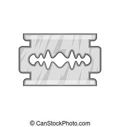 Blade razor icon, black monochrome style