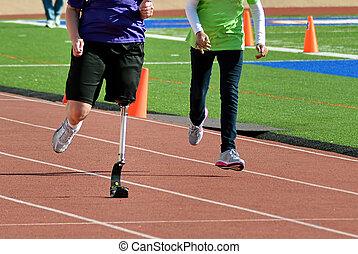 Blade Runner. - Blade runner at track running fast.