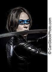 Blade, Woman with katana sword in latex costume