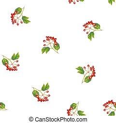 bladen, bär, filial, vektor, röd, opulus, pattern., seamless, -, viburnum, guelder-rose