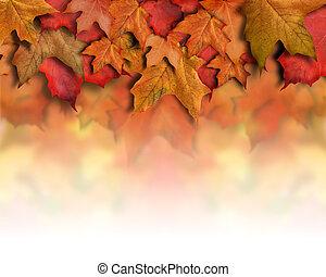 bladeren, achtergrond, herfst, oranje grens, rood